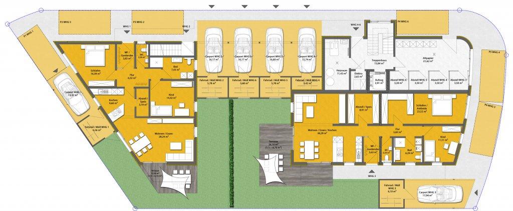 Mit eigenem garten 3 zi eg wohnung im 2 fam haus neubau wohnung mit terrasse und garten - Grundriss garten ...